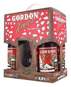 Gordon Xmas Gaveæske - 4 Øl Og Et Glas
